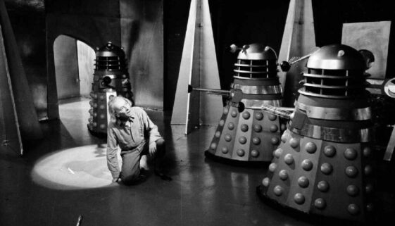 Daleks surround the Doctor