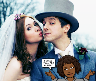 """Eleven and The Ponds in wedding garb with text """"I gues y'all are okay"""""""
